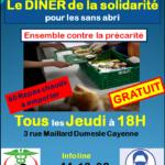 Le DINER de la solidarité Tous les Jeudi à 18H