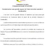 Condamnation de l'acte terroriste commis à Rambouillet